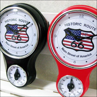 Clock | Wall hangings | Wall clock | Antique | American miscellaneous goods | Clock Route 66 with the kitchen timer