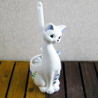 Toilet brush-cat-cats-cat gadgets-ネコトイレ brush blue