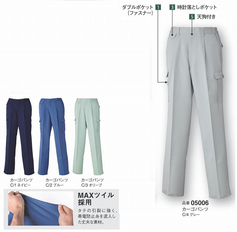 ◎カーゴパンツ(脇ゴム入り) MAX500 (05006) DAIRIKI ダイリキ 【作業服・作業着・秋冬用】