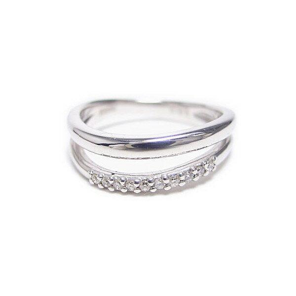 ピンキーリング K18 ゴールド ダイヤモンド ダブルライン レディースリング 【送料無料】 ホワイトゴールド 指輪 女性 プレゼントに◎