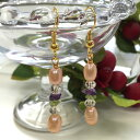 Fresh water pearl & crystal beads & amethyst / peridot さざれ pierced earrings, natural stone pierced earrings [, as for the change to 300 yen uniform + email service free shipping 】★ titanium pierced earrings & earrings, possible]♪