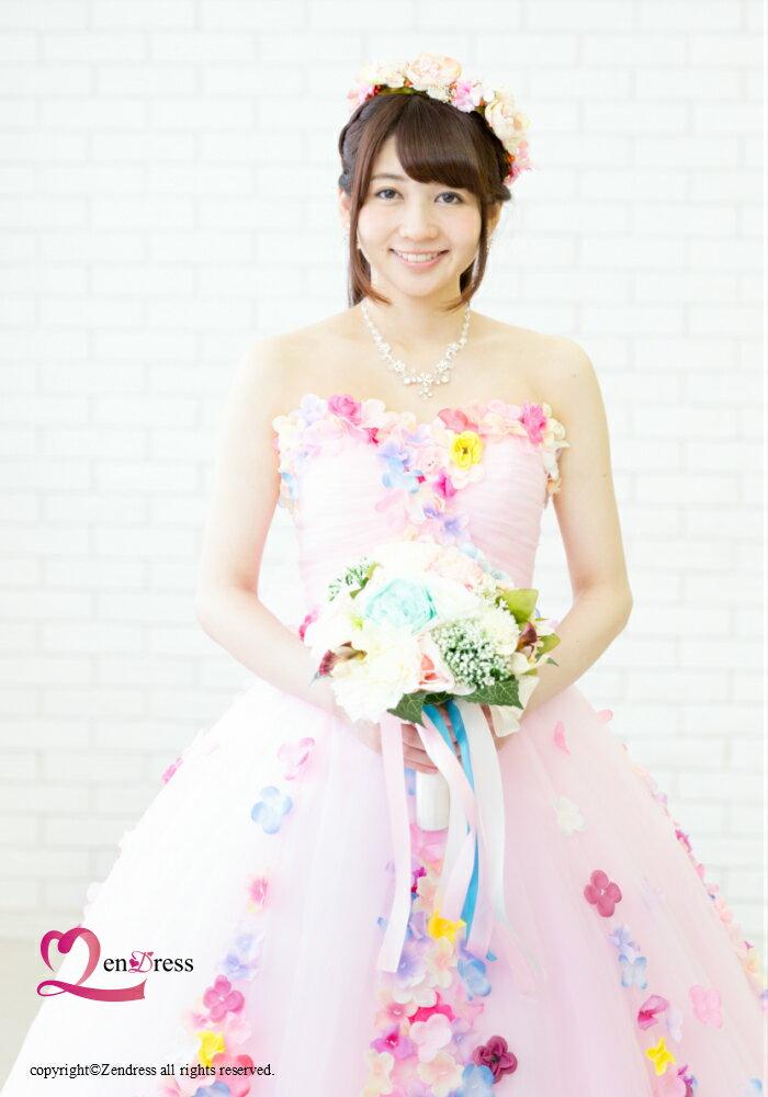 【新作】ウエディングドレス_花嫁ドレス_カラードレス_パーティードレス_二次会ドレス_お花ドレス
