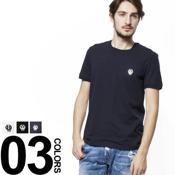 ドルチェ&ガッバーナ DOLCE&GABBANA ドルガバ D&G 半袖 Tシャツ ワンポイントエンブレム刺繍 クルーネック ブランド メンズ 男性 カジュアル トップス アンダーTシャツ DGN8A03JO0020S