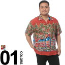 大きいサイズ メンズ PIKO (ピコ) プリント総柄 ポケット付き 半袖 アロハシャツ BIG SIZE カジュアル トップス シャツ アロハ カジュアルシャツ 楽天カード分割