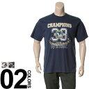 大きいサイズ メンズ B&T CLUB (ビーアンドティークラブ) 抗菌防臭 綿100% カレッジプリント 半袖 Tシャツ BIG SIZE カジュアル トップス ティーシャツ イオンクラスター 静電防止