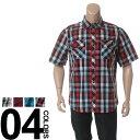 大きいサイズ メンズ Dickies (ディッキーズ) ロゴ チェック柄 ポケット付き 半袖 シャツ BIG SIZE カジュアル トップス カジュアルシャツ 柄シャツ コットン