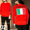 ショッピングハイドロゲン ハイドロゲン HYDROGEN Tシャツ 長袖 イタリア国旗 クルーネック ロンT メンズ ブランド カットソー HYLG0009