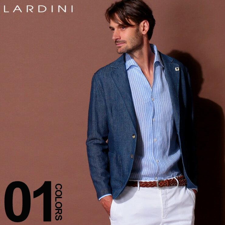 ラルディーニ LARDINI ジャケット デニムルック シングル 麻 リネン コットン ブランド メンズ テーラード サマージャケット LDAMAEGC1049