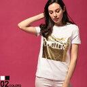 ヴェルサーチ ジーンズクチュール レディース Tシャツ VERSACE JEANS COUTURE ロゴ クルーネック 半袖 ブランド トップス ロゴT カットソー ゴールド VCLB2HVA7T2 SALE_8_a