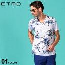 エトロ メンズ Tシャツ 半袖 ETRO Vネック フラワー 総柄 プリント ブランド トップス プリントT コットン 花柄 ET1Y0214153 SALE_1_a