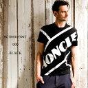 モンクレール メンズ Tシャツ MONCLER 半袖 ロゴ プリント クルーネック ブランド トップス ロゴT 黒 MC8C706108390T SALE_1_a