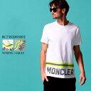 モンクレール メンズ Tシャツ 半袖 MONCLER ロゴ プリント フラッシャー クルーネック ブランド トップス プリントT ロゴT MC8C739208390T SALE_1_a