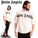 パームエンジェルス メンズ Tシャツ 半袖 Palm Angels ロゴ プリント クルーネック FRONT LOGO OVER ブランド トップス プリントT ロゴT ビッグシルエット PAAA02R20413001 SALE_1_a