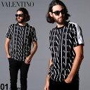 ヴァレンティノ メンズ Tシャツ 半袖 Valentino ロゴ 総柄 ショルダーライン クルーネック VLTN TIMES ブランド トップス プリント コットン VLUV3MG08H6LG