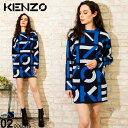 ケンゾー レディース ワンピース KENZO モノグラム ロゴ 総柄 クルーネック オーバーサイズ ブランド トップス ニットワンピ コットン KZLFB52RO5313SC SALE_8_a