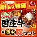【訳あり】【送料無料】すき家国産牛丼の具5パック+炭火豚5パック【賞味期限:18年9月29日】 冷凍食品