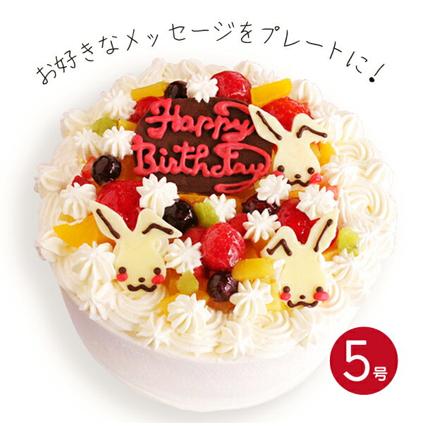 誕生日ケーキ うさちゃんメッセージプレート付き!...の商品画像