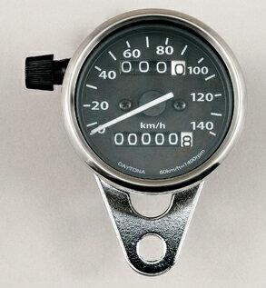 機械式スピードメーター140km/h トリップ付(ホワイトLED照明)ブラックパネル DAYTONA(デイトナ)