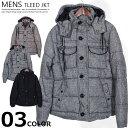 メンズ 中綿ジャケット アウター コート ウール混 ツイード 防寒 M L XL 黒 無地 紳士 mens「84605」