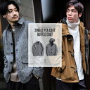 ◆ SALE セール 54%OFF ◆ ピーコート メンズ ウールコート ショート丈 ダブル コート