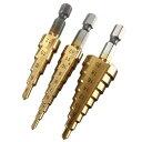タケノコドリル3本 3-12mm 4-12mm 4-20mm HSS チタンステップコアドリルビット