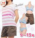 【送料無料】水着 レディース 体型カバー ボーダー ビキニ カバーアップ 半袖 ショートパンツ 4点セット Tシャツ 女性 9号11号13号