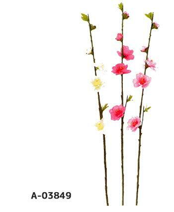 A-03849【桃ピック*小枝】桃の花*5輪付1本売(全長38cm*花径1〜3.5cm)春の花で可愛い桃の小枝ハンドメイドやひな祭りに使えます