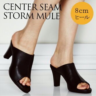 Can storm Mule Mule Sandals Black / Black BLACK high heel 8 cm / manual size:21.5cm 22 cm ~ 25 cm 25.5 cm /