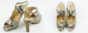 【日本製本革】フィットストラップパイソンサンダルハイヒール8cmバックストラップヘビプリント【送料無料】【大きいサイズ小さいサイズ】/取扱サイズ:21.5cm22cm〜25.5cm/【RCP】
