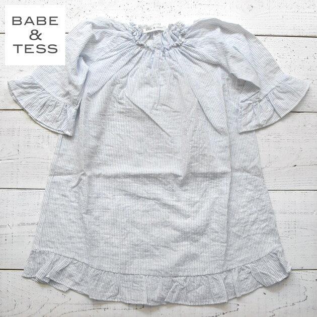 ≪BABE&TESS≫ベイブ・アンド・テスブルーストライプ五分袖シャツワンピースブラウスホワイト2歳