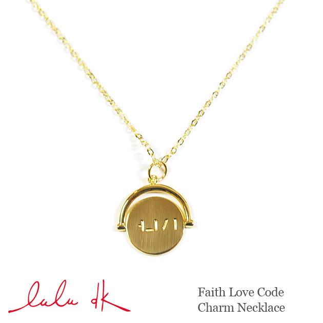 ≪Lulu DK≫ ルルディーケーメッセージロゴ刻印 スピンコインチャーム ゴールドネックレス Faith Love Cord Charm Necklace (Faith)【レディース】【クリスマス】 スピック&スパン、フリークスストアでも展開中!