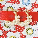 【送料無料】【再入荷】≪viv & ingrid≫ ヴィヴ&イングリッドホワイトパール スパイラルフープピアス XSサイズ Spiral Hoop Earrings (White Pearl)【レディース】【楽ギフ_包装】