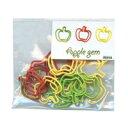 【アップルゼム 15個入 DMG-2801】りんごの形をしたカラーゼムクリップ[SLIP-ON]の画像