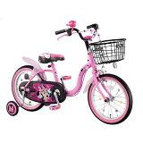 アイデス 16型 幼児用自転車 ミニーマウス ラブデコ リボン ピンク/シングルシフト 00213