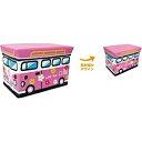 ユーカンパニー ストレージボックス スツール ワゴンバス フラワーピンク 14582 おかたづけボックス 布製の玩具箱 トイボックス キッズチェア ピンク フラワー 座れてたためる おもちゃ箱 バスの画像
