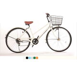 Lupinus (ルピナス) ブランド自転車  シティサイクル ままちゃり LEDオートライト 26インチ 高級 ブラックリム シマノ6段 T字ハンドル ( 鍵 自転車スタンド ) 26-T-A