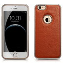 デンノー Litchi For iPhone6 plus Aluminium Frame Genuine Leather Brown Color MIPS-6011BN