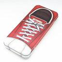 レッドスニーカー デザイン柄 ブリキ缶 カンペンケース 4面が靴のデザイン