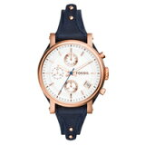 フォッシル レディース腕時計 オリジナルボーイフレンド 38mm ホワイト/ローズゴールド/ネイビーレザー