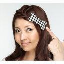 髪ピタ ハード リボン チェック ブラックの画像