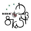 【ウォールデコクロック】ウォールステッカー、ウォールシールの新発想クロック(時計)!壁に何度でも貼り直し可能なステッカーにおしゃれな時計をセット!10D014の画像
