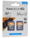 TEAM 64GB・UHS-I対応・Class10対応SDXCカード 2枚セット TXC064GU1DP