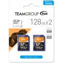 TEAM 128GB・UHS-I対応・Class10対応SDXCカード 2枚セット TXC128GU1DP