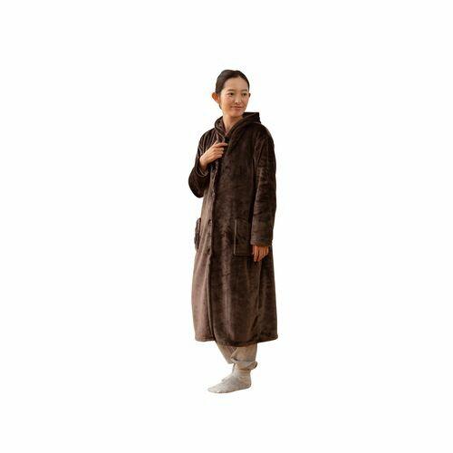 ナイスデイ mofua プレミマムマイクロファイバー着る毛布 フード付 ルームウェア サイズ:着丈110cm 色:ブラウン