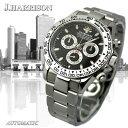 J.HARRISON 手巻付&自動巻腕時計(オールステンレス) JH-018BK/JH-018WH/JH-018BKBK/JH-018RB