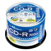 マクセル データ用 CD-R 48倍速対応 インクジェットプリンター対応 ひろびろ美白レーベル 700MB 50枚(スピンドルケース) CDR700S.WP.50SP