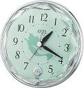 リズム時計 アナログ目覚まし/アリエル 4SE546ML05 シルバーメタリック色 緑 1038434