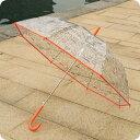 (259)(OR) ミッフィー 60cmクリア総柄長傘 オレンジ透明のPOE素材にミッフィーの総柄プリントの雨傘です♪ (miffy)の画像