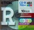TDK PCデータ用 CD-R 700MB 48倍速対応 インクジェットプリンタ対応 5色ミックス 10枚 CD-R80CPMX10B