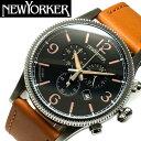 ニューヨーカー コインエッジ クロノグラフ メンズ 腕時計 NY008.03  YORKER クオーツ ブラック×キャメル